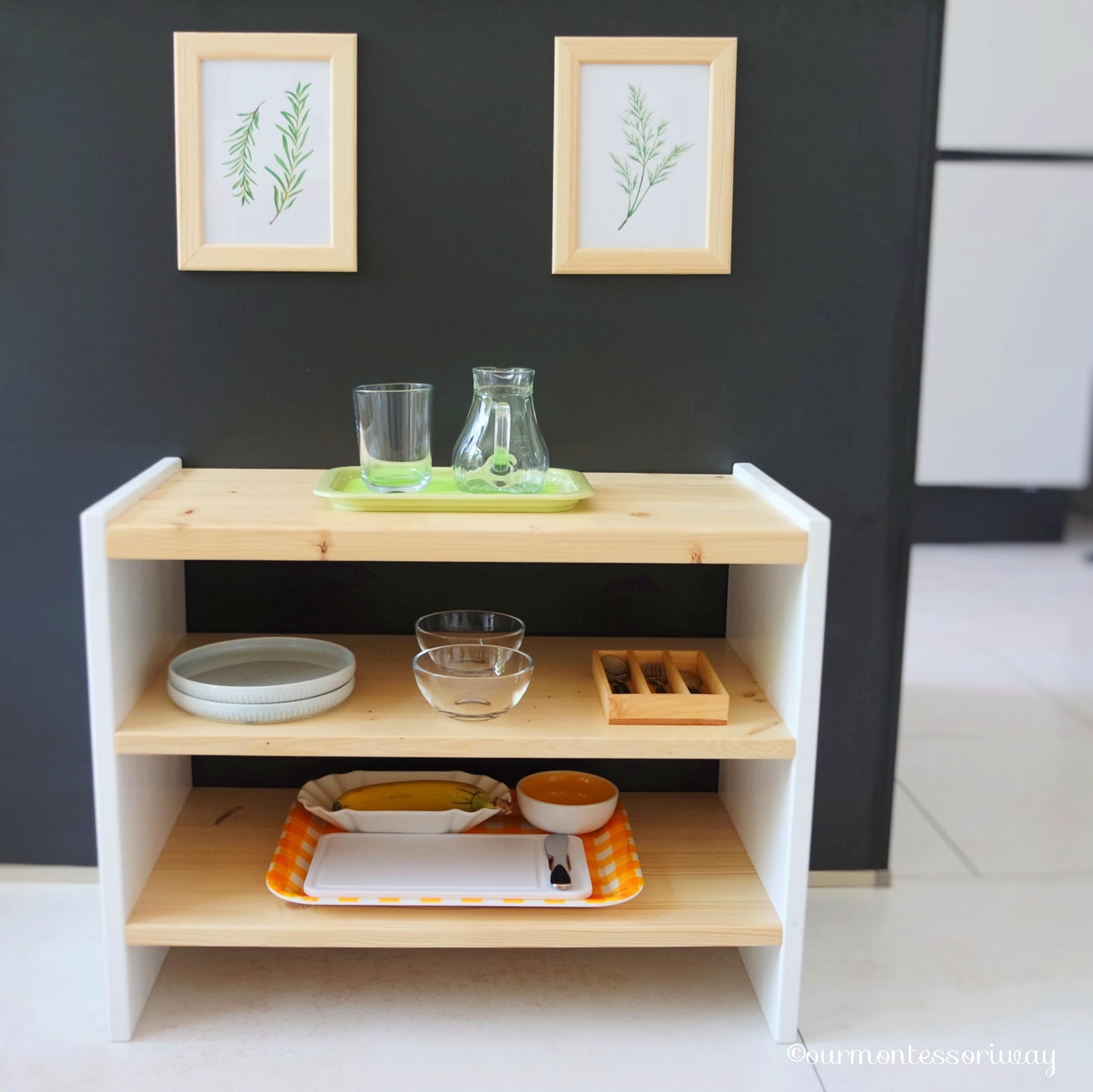 Unsere Diy Montessori Kinderkuche Teil 1 Regale Arbeitsbereich Und Spultisch Ourmontessoriway